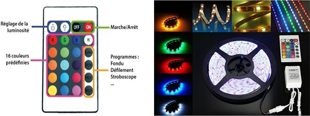 MICR-OS.COM Kit Ruban LED de 5 mètres multicolore